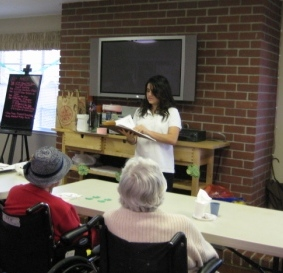 Lizzi reading at Willow Glen Convalesent Hospital
