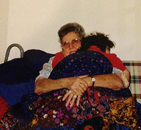 Grandma Thone and Lizzi in February 1998.
